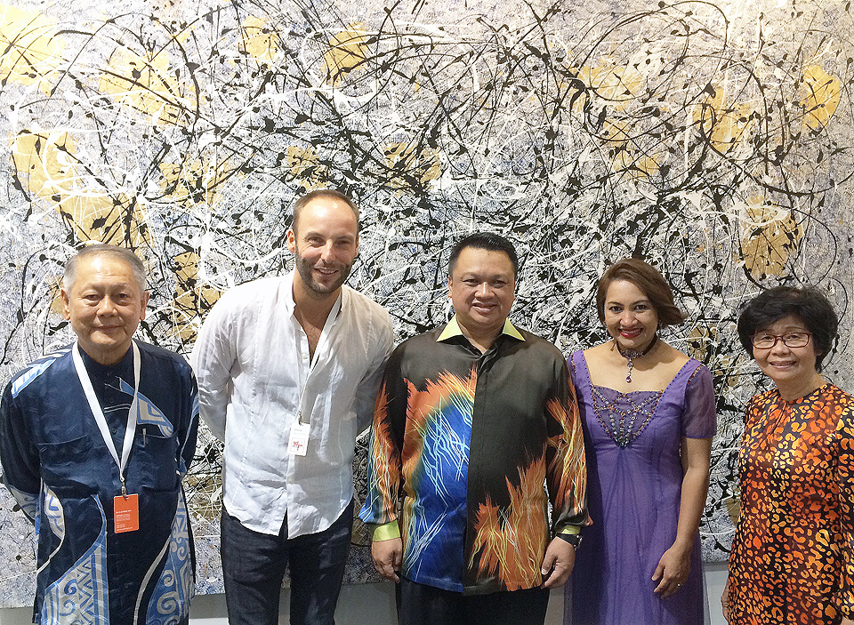 Datuk Sim Tiak Choo, Belgian Artist Phil Akashi with the Crown Prince and Crown Princess of Perlis, Malaysia, Tuanku Syed Faizuddin and Tuanku Lailatul Shahreen